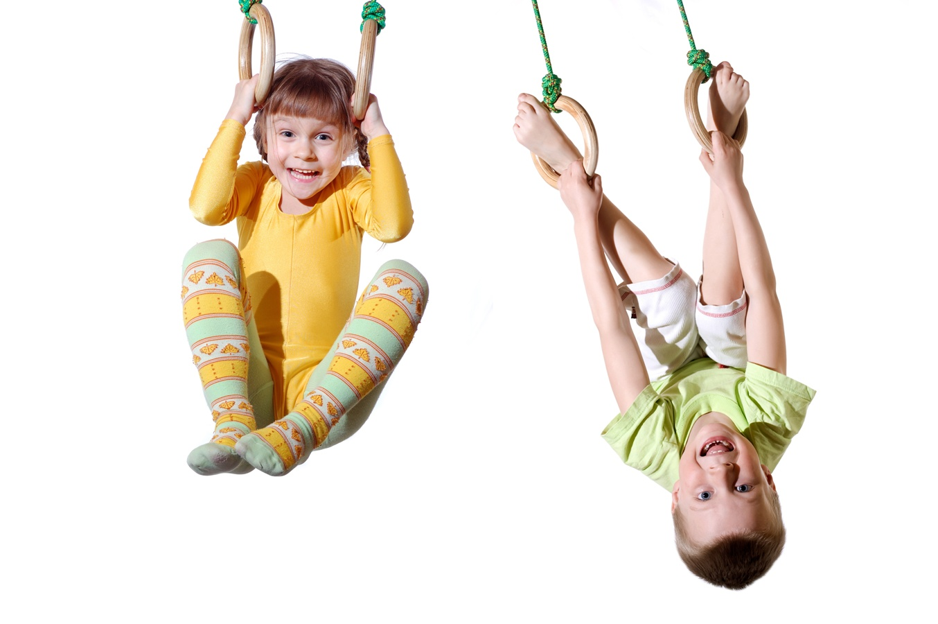 children on gym rings